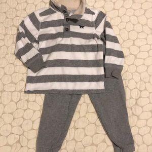 Carters boys fleece top and sweatpants gray set